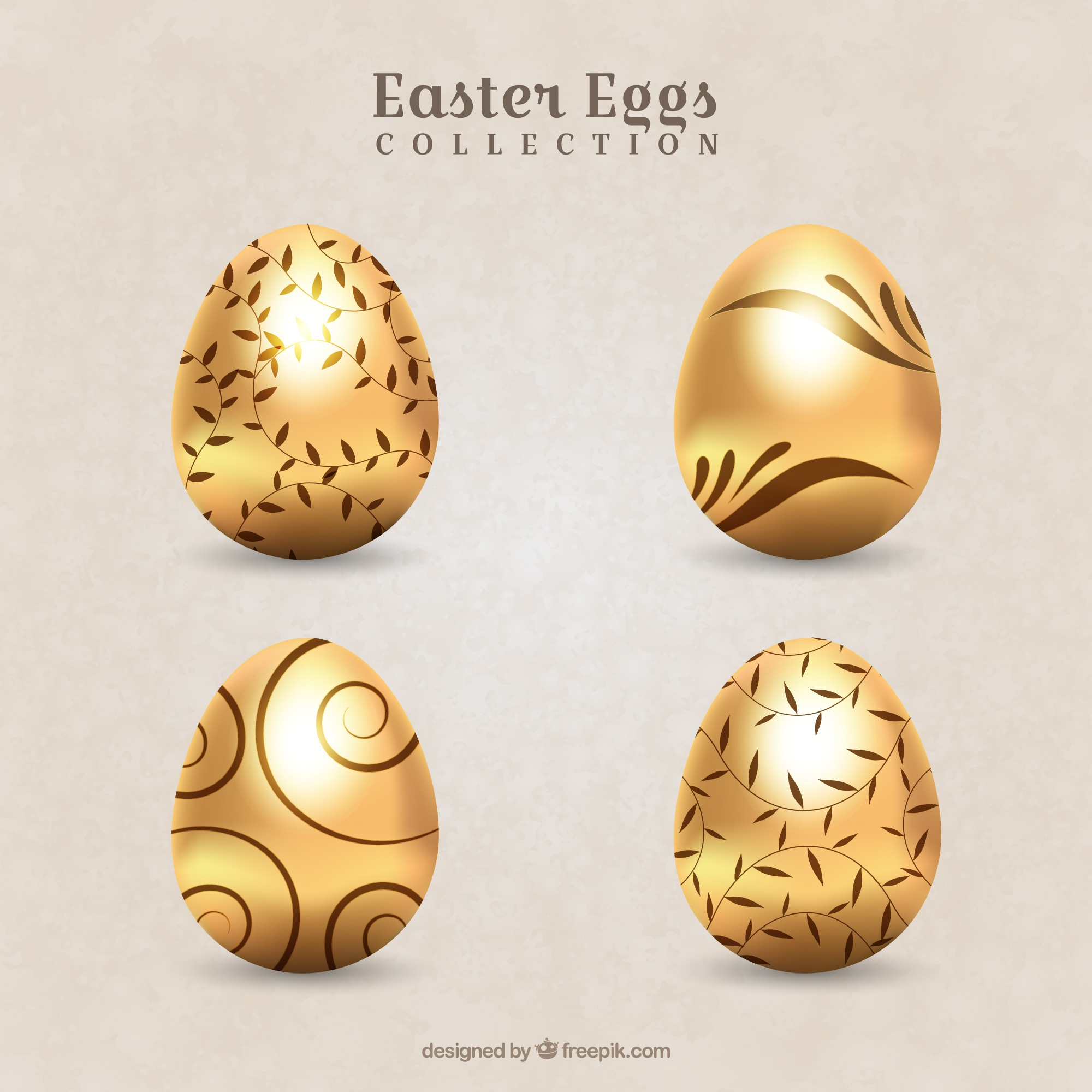 Pack of decorative golden easter eggs