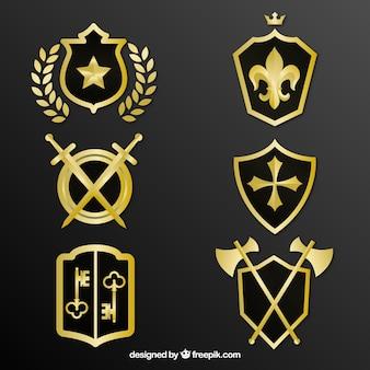 装飾的な黄金の盾のパック