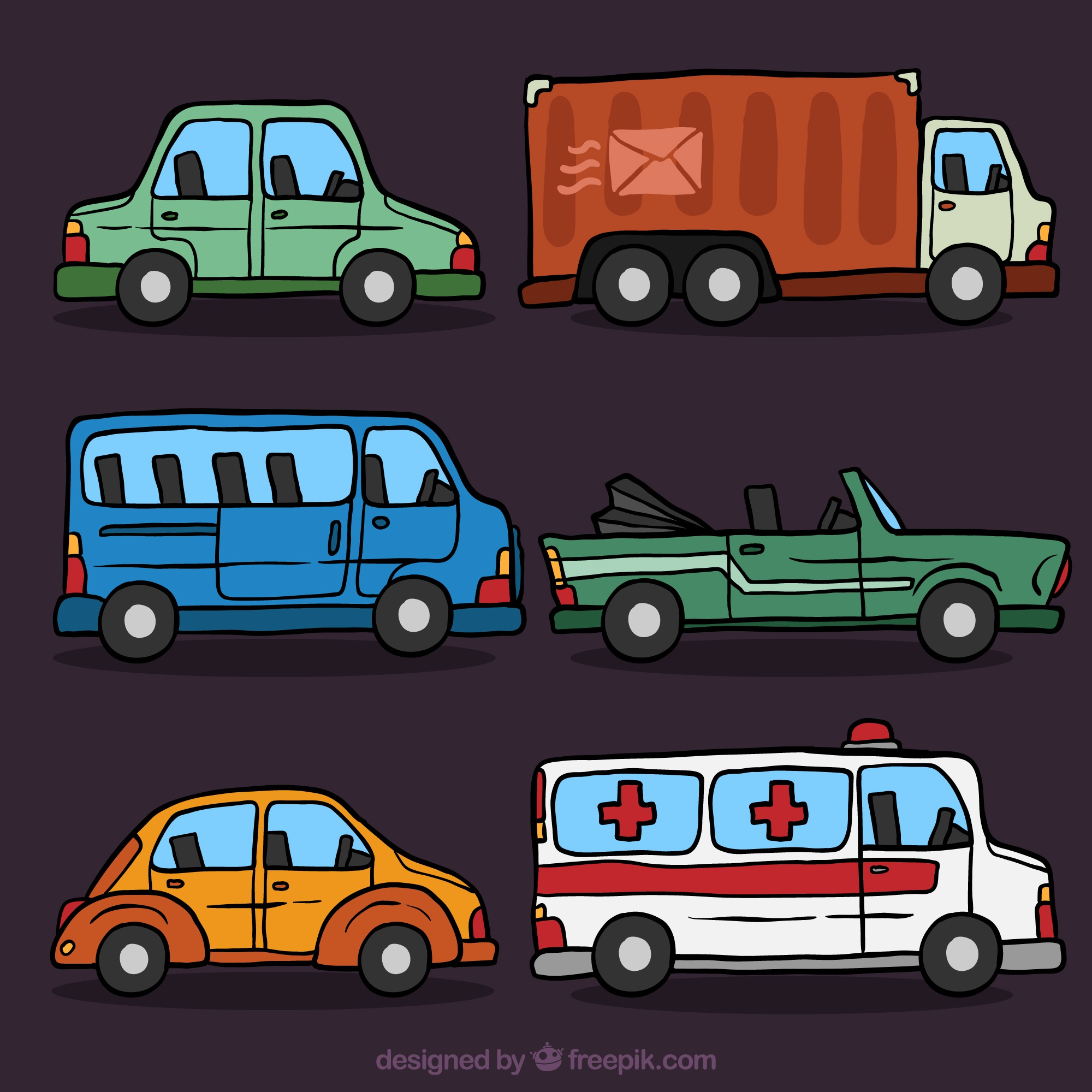 Pack of decorative hand-drawn vehicles