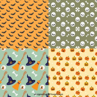 Pack of decorative patterns with halloween elements