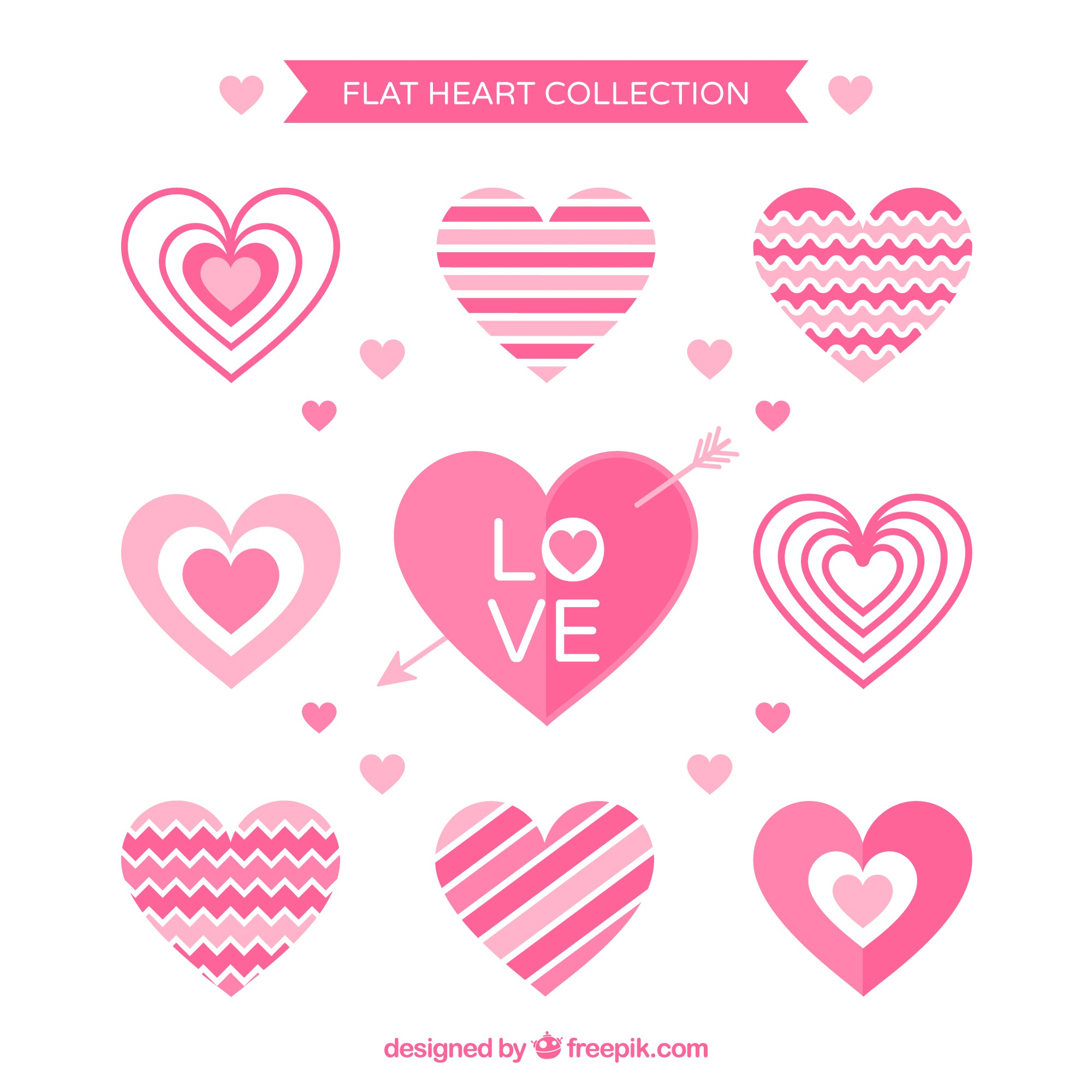 Pack of decorative pink hearts in flat design
