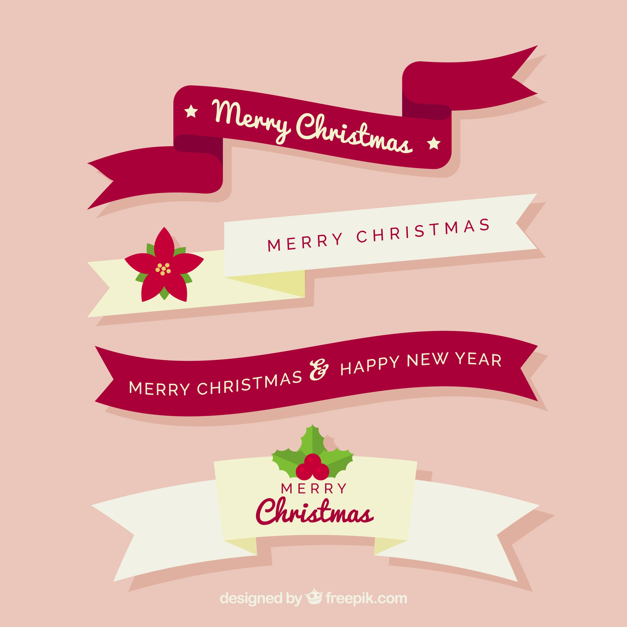 Pack of decorative ribbons of merry christmas in flat design