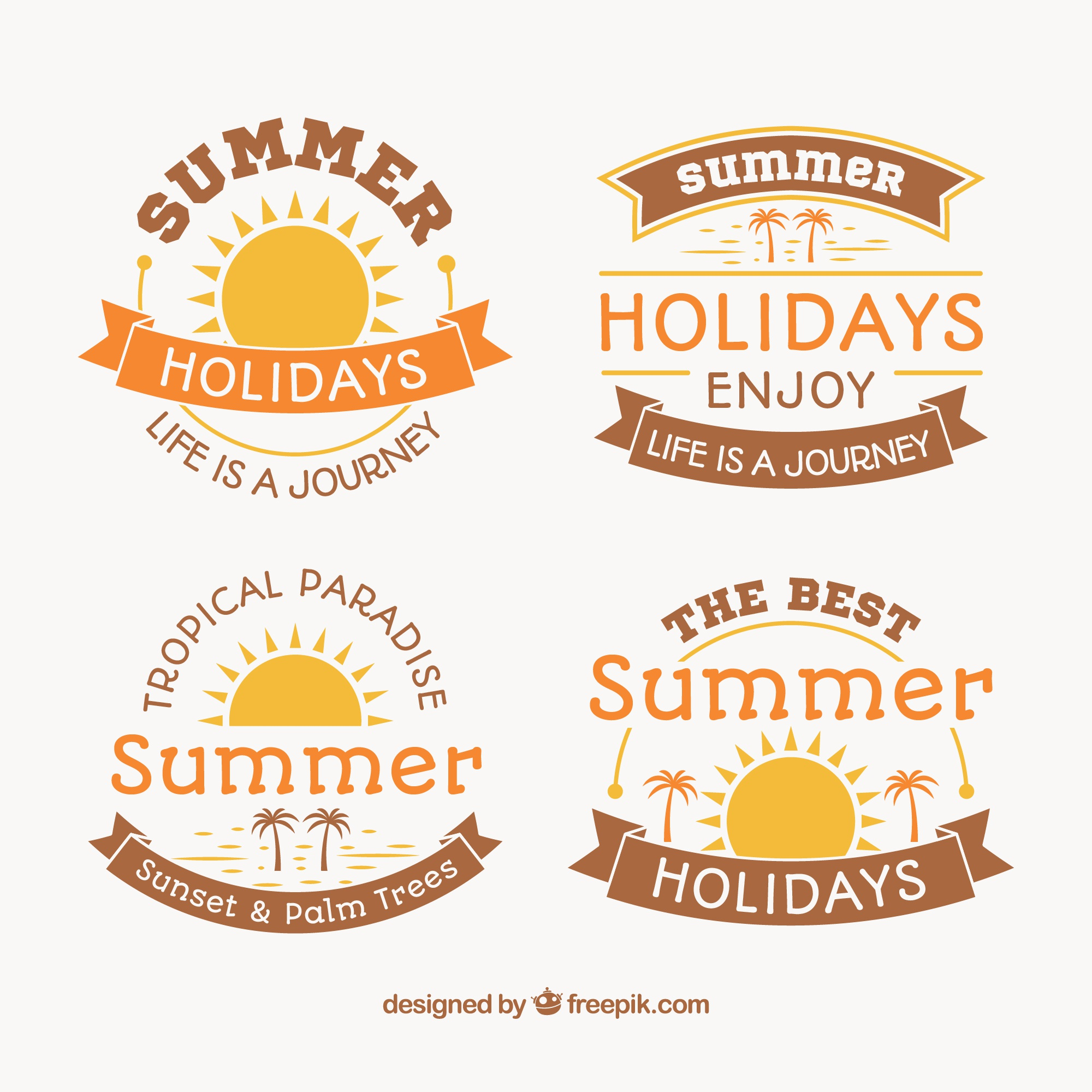 Pack of decorative stickers for summer