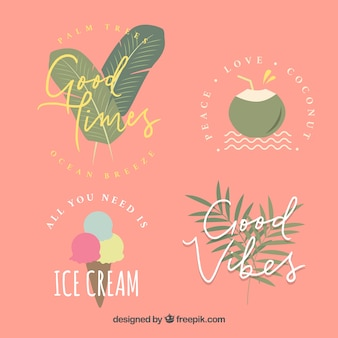 Pack of decorative summer stickers