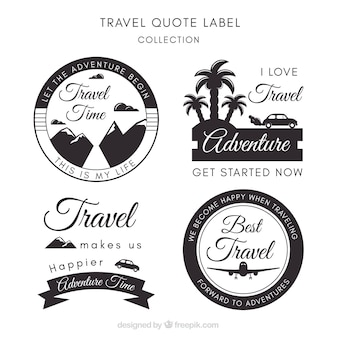 Pack of decorative travel stickers in vintage style