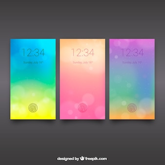 Pack of defocused wallpapers of colored for mobile
