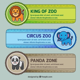 Pack of diferent zoo banners in flat design