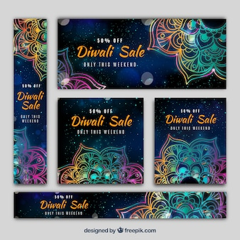Pack of diwali banners with colorful mandalas