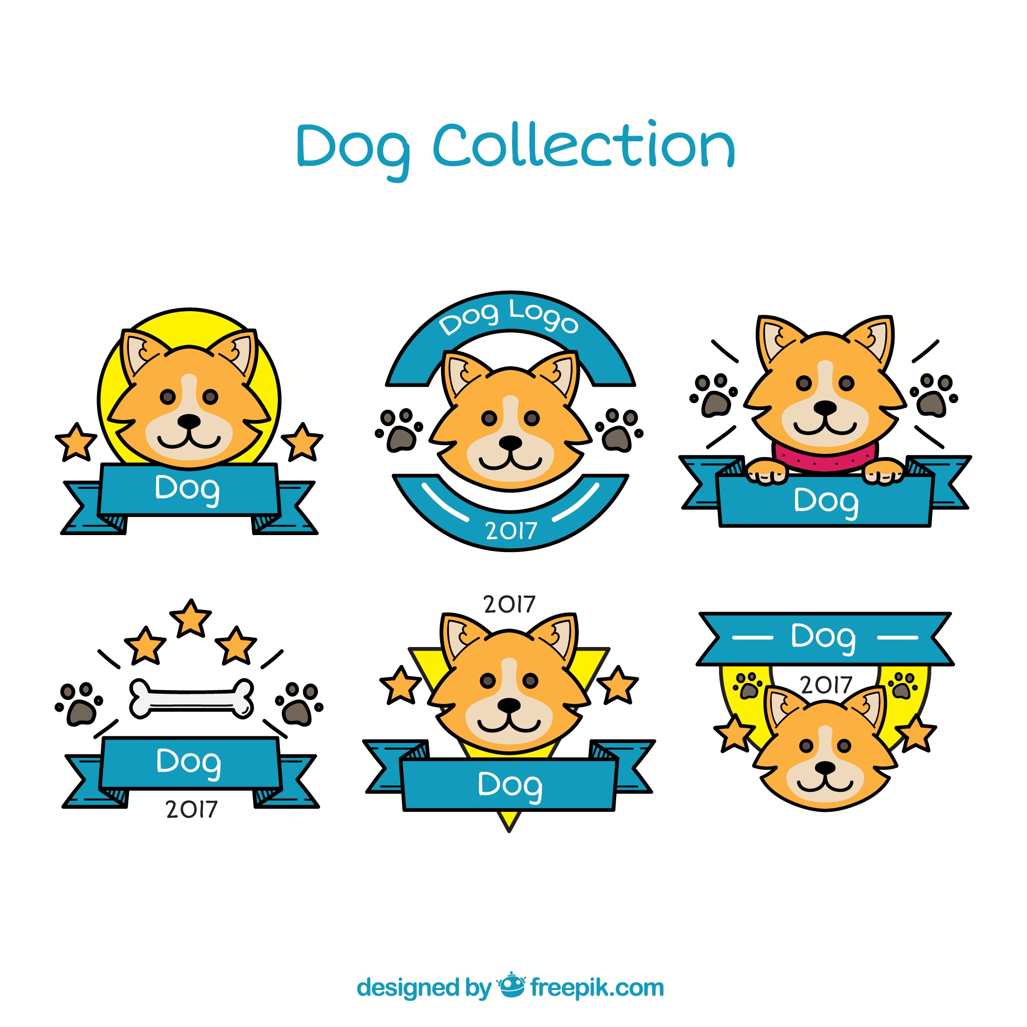 Pack of dog logos with blue ribbons