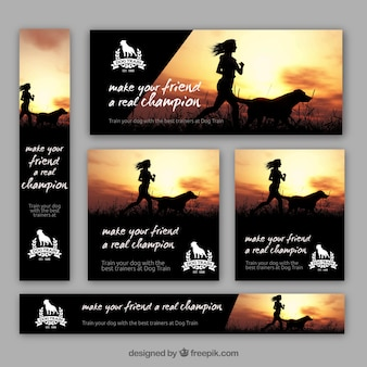 Pack of dog trainer banners