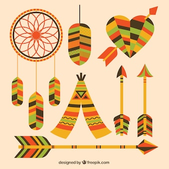 Pack of dreamcatchers and other ethnic elements