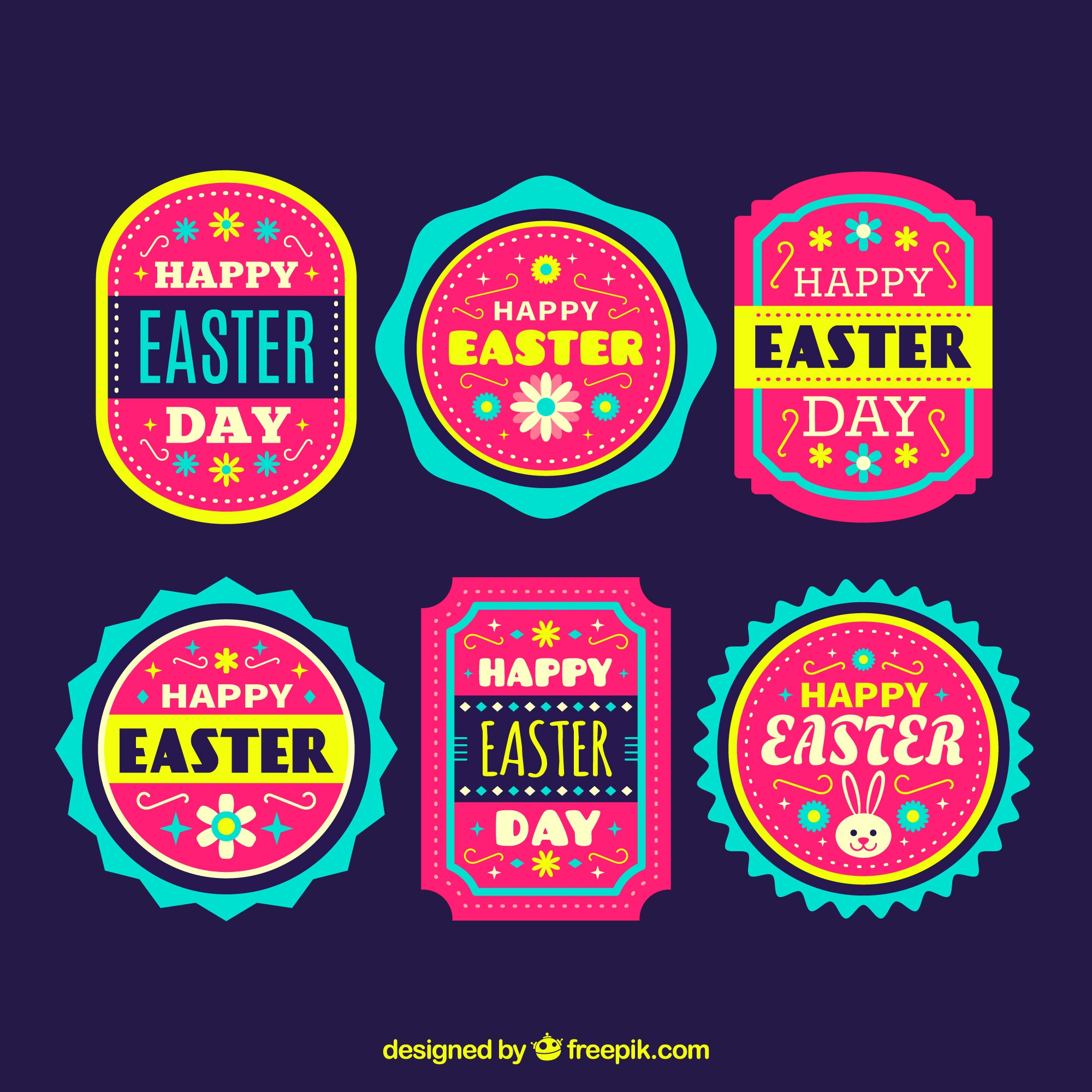 Pack of easter stickers in vintage style