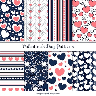 Pack of eight beautiful patterns ready for valentine's day