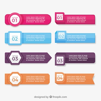 Pack of eight infographic banners with great designs