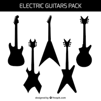 Pack of electric guitars silhouettes