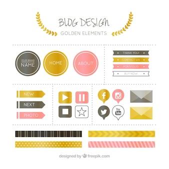 Pack of elegant blog elements