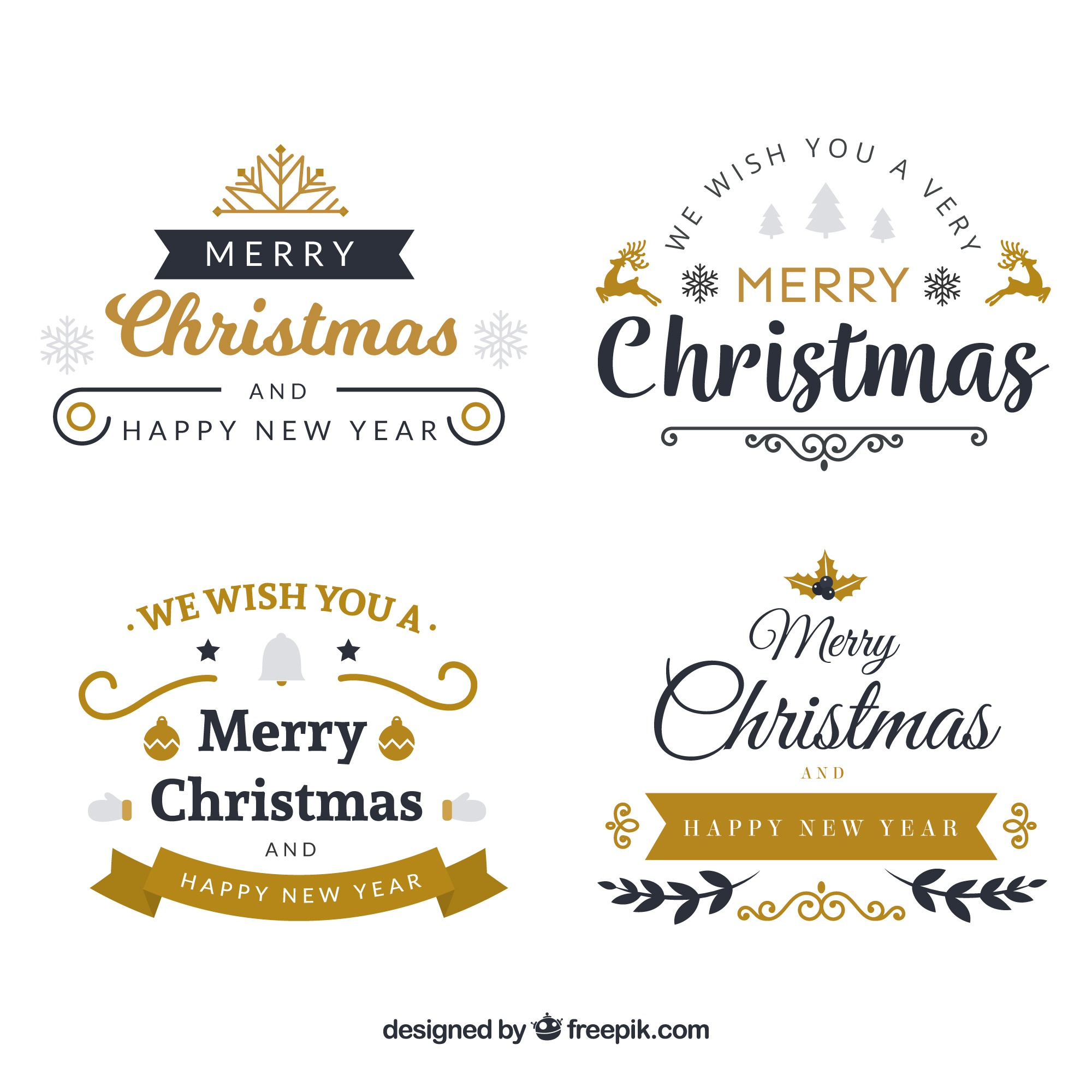 Pack of elegant christmas stickers