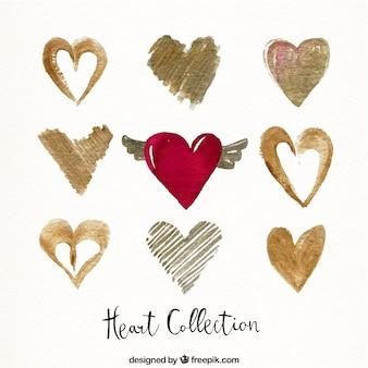 Pack of elegant golden hearts