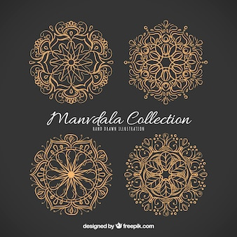 Pack of elegant hand-drawn golden mandalas