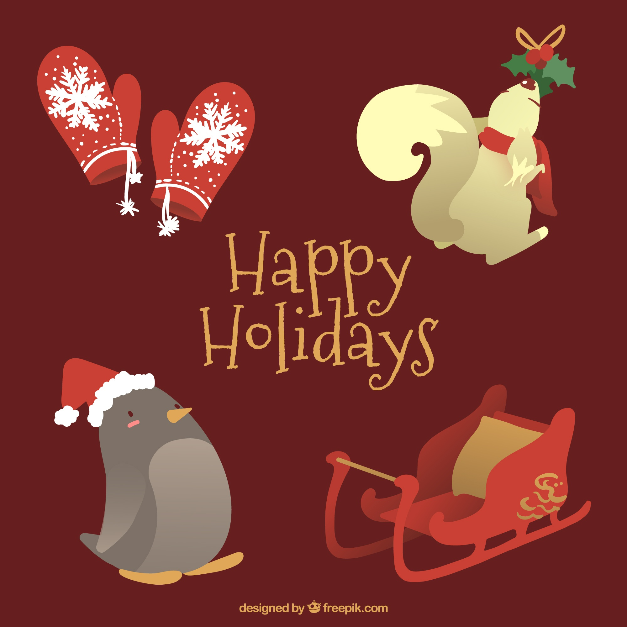 Pack of elements and lovely christmas animals