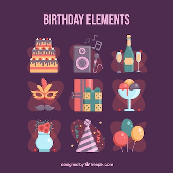 Pack of elements to celebrate a birthday