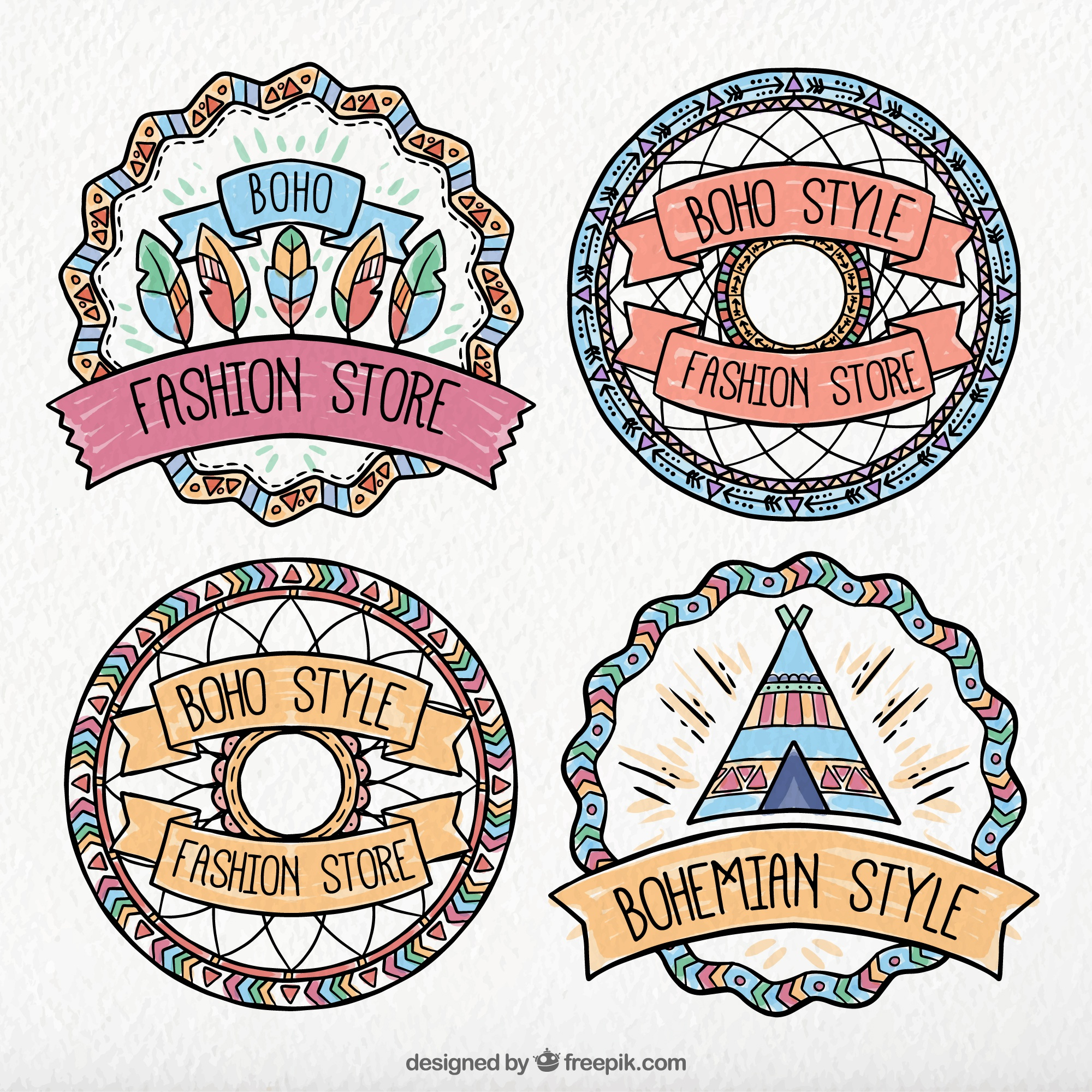 Pack of ethnic watercolor stickers