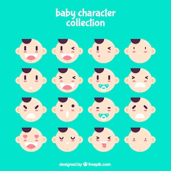 Pack of expressive baby faces in flat design