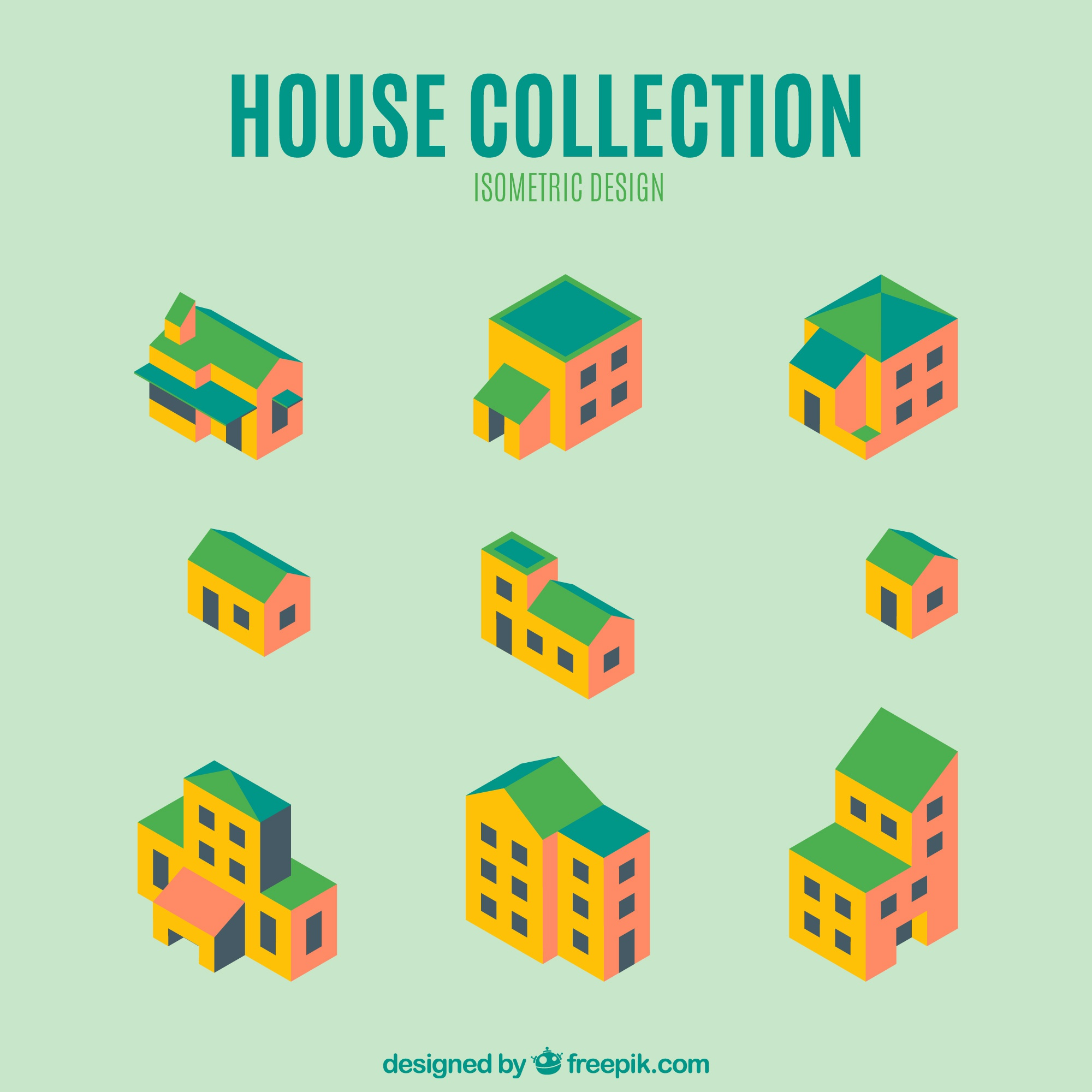 Pack of fantastic isometric houses