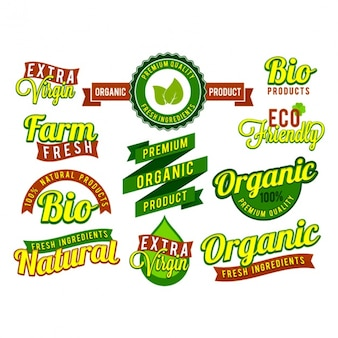 Pack of fantastic labels for organic products