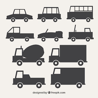 Pack of fantastic vehicles silhouettes
