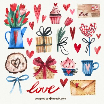 Pack of fantastic watercolor objects for valentine's day