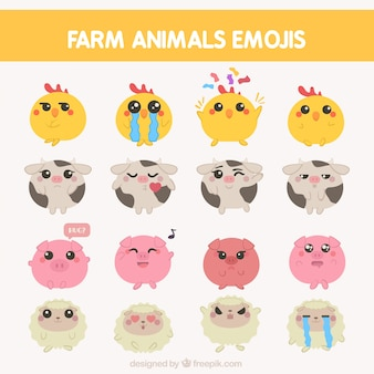 Pack of farm animals emojis