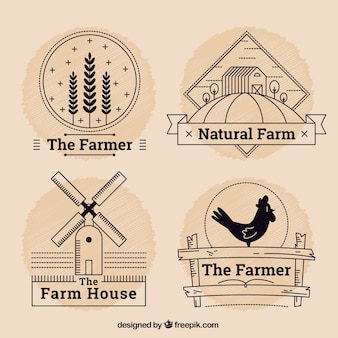 Pack of farm logotypes with outline