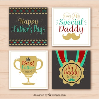 Pack of father's day greetings in vintage style
