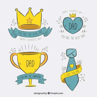 Pack of father's day hand-drawn stickers