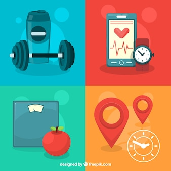 Pack of fitness objects in flat design