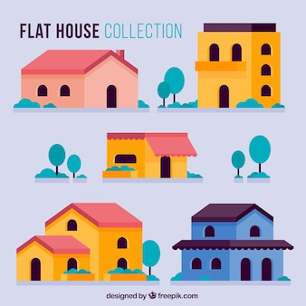 Pack of five colored houses in flat design