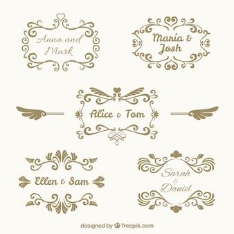 Pack of five vintage wedding frames
