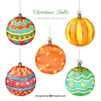 Pack of five watercolor ornamental christmas balls