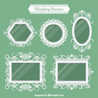 Pack of five white wedding frames