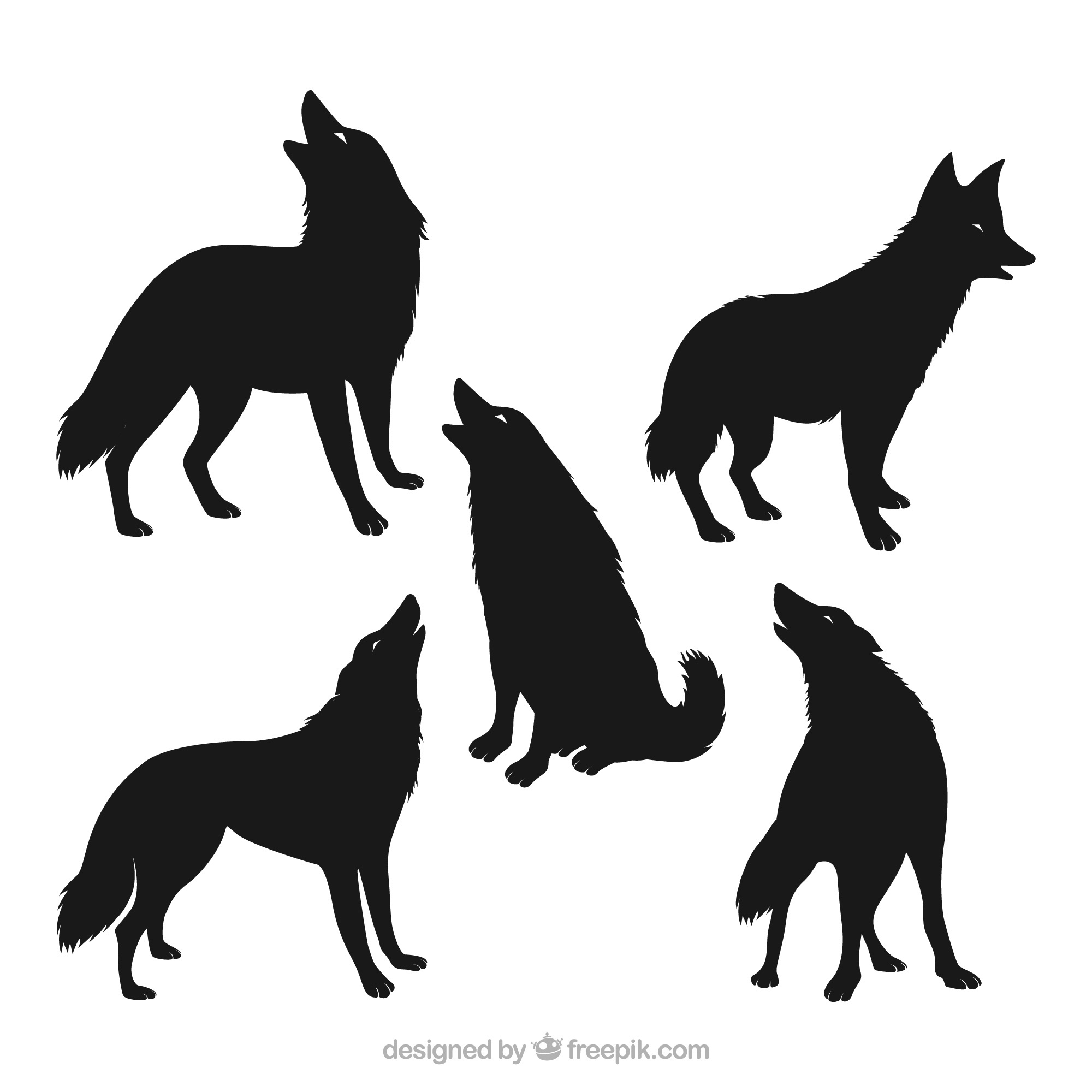 Pack of five wolf silhouettes
