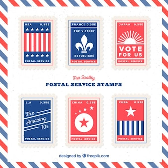 Pack of flat blue and red postal service stamps