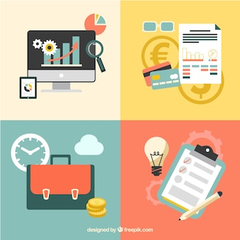 Pack of flat business elements