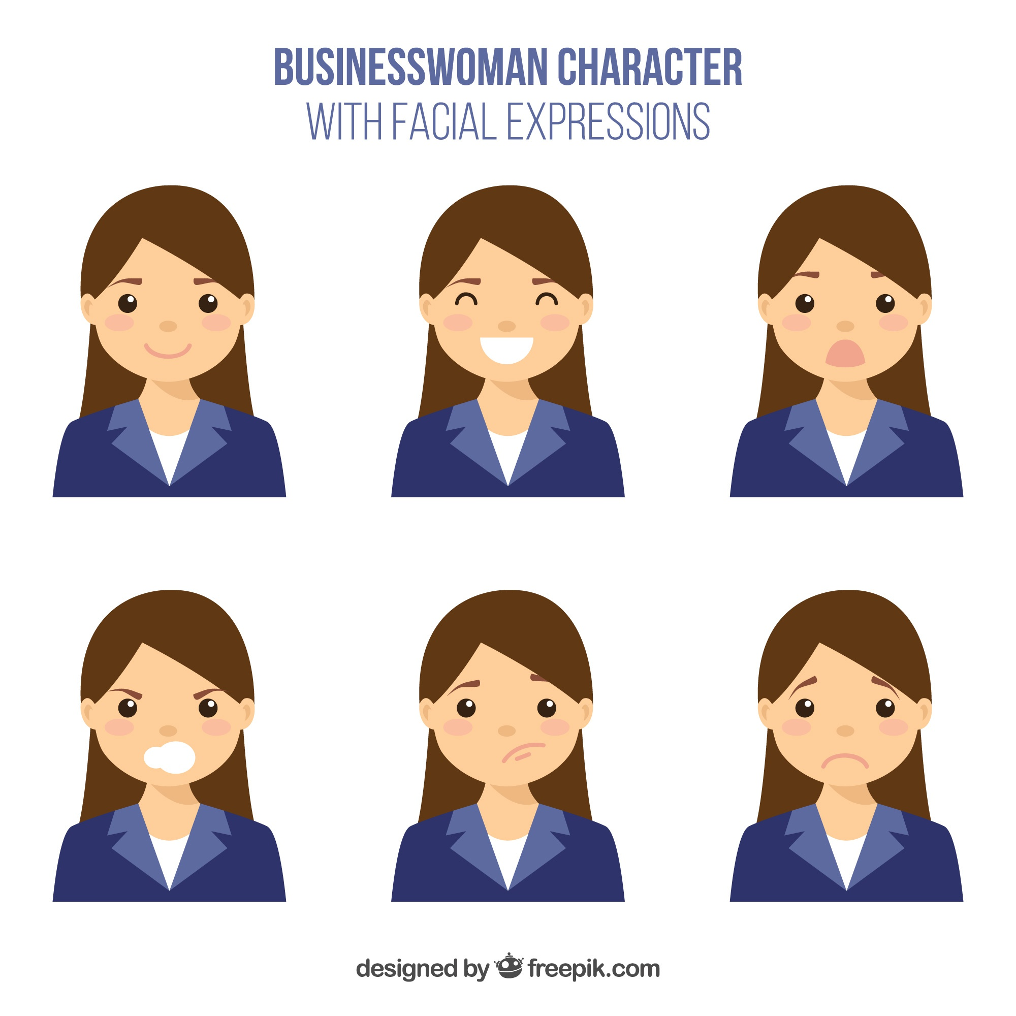 Pack of flat businesswoman character with different expressions