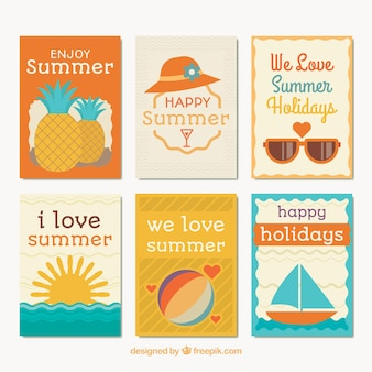 Pack of flat cards with summer elements