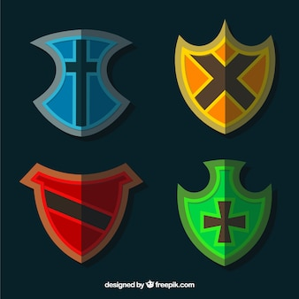 Pack of flat colored crests
