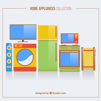 Pack of flat colorful home appliances