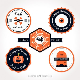 Pack of flat cute halloween stickers
