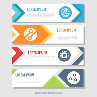 Pack of flat infographic banners with colored shapes