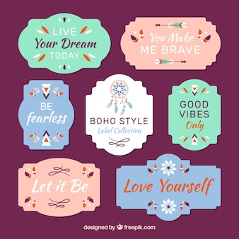 Pack of flat labels in boho style